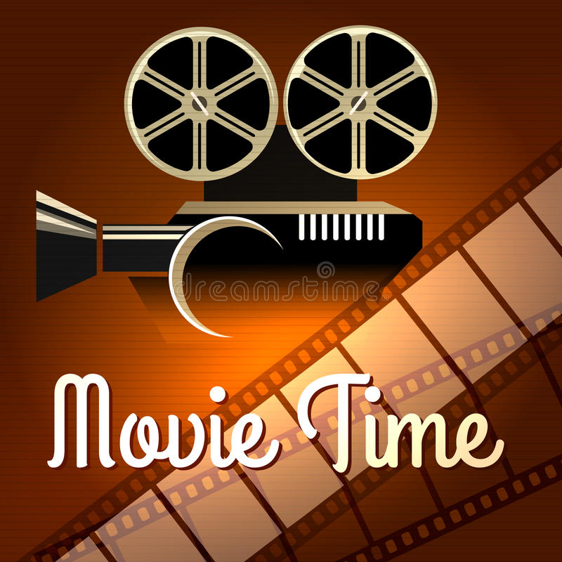 Movie time poster. Cinema poster with Camera and film reel. retro illustration vector illustration