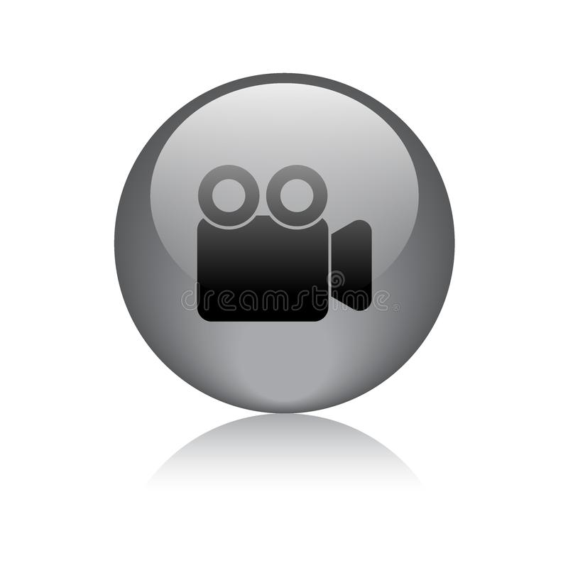 Movie video camera button. Movie video camera icon web button - vector illustration on isolated white background with reflection shadow royalty free illustration