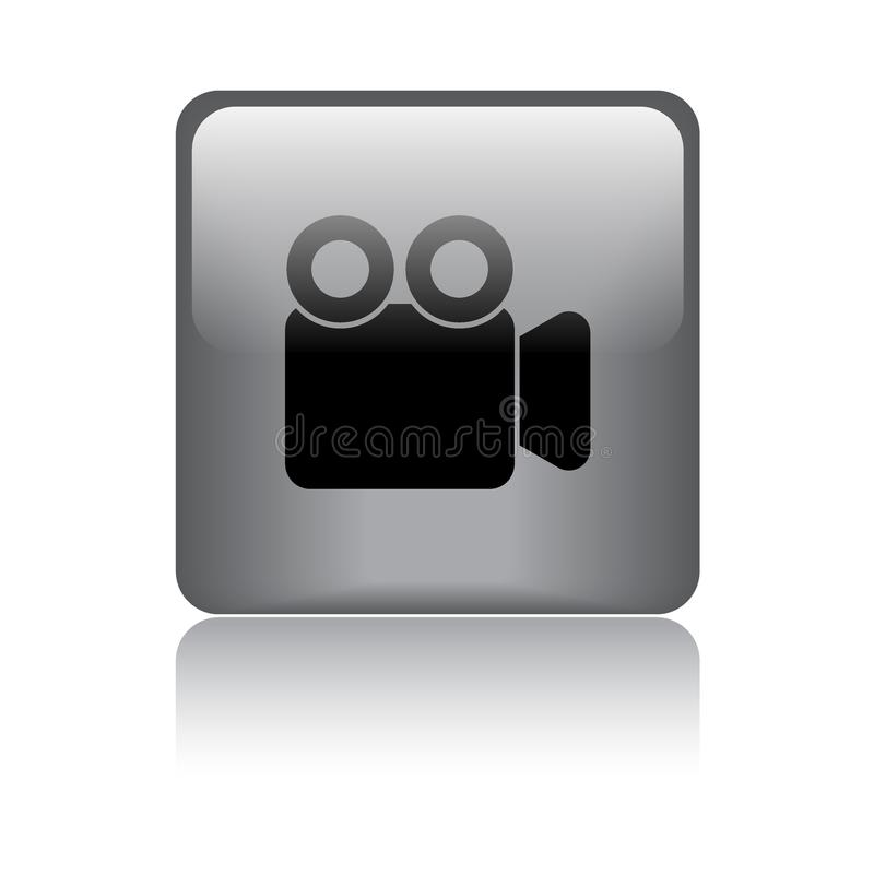 Movie video camera button. Movie video camera icon web button - vector illustration on isolated white background with reflection shadow stock illustration
