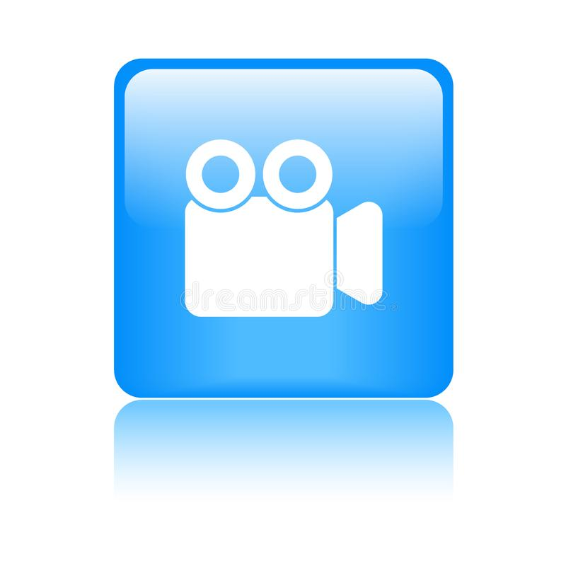 Movie video camera button. Movie video camera icon web button - vector illustration on isolated white background with reflection shadow vector illustration