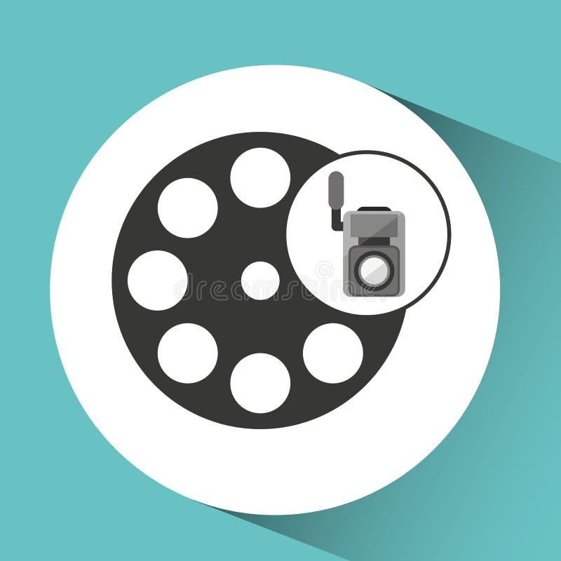 Movie video camera film reel icon vector illustration