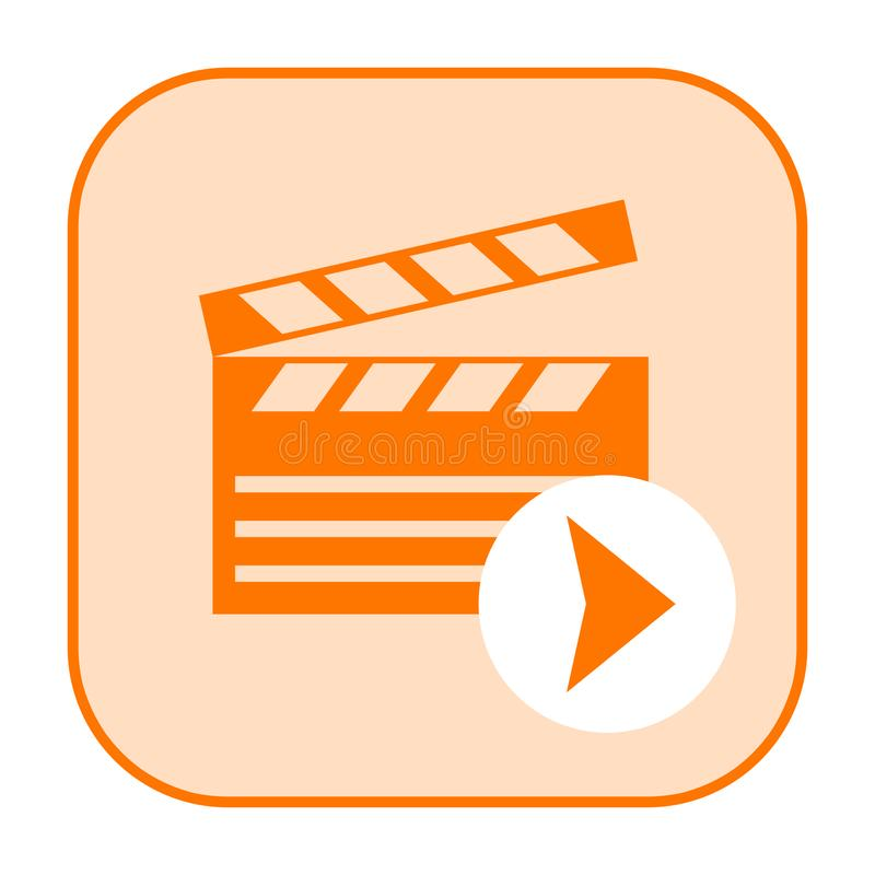 Movie or video icon. Movie or video file icon with clapper board isolated on white background vector illustration