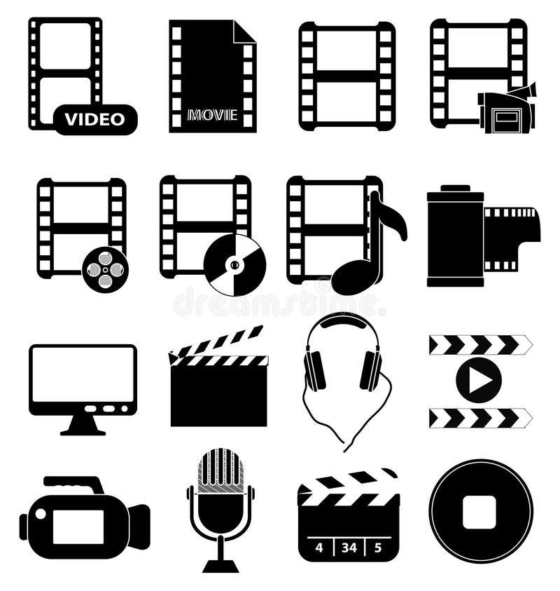 Movie video media icons set. In black stock illustration