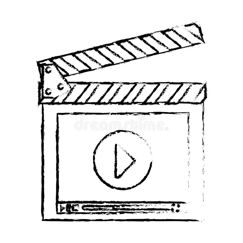 Movie or video related icon image. Clapboard movie or video related icon image sketch line vector illustration design vector illustration