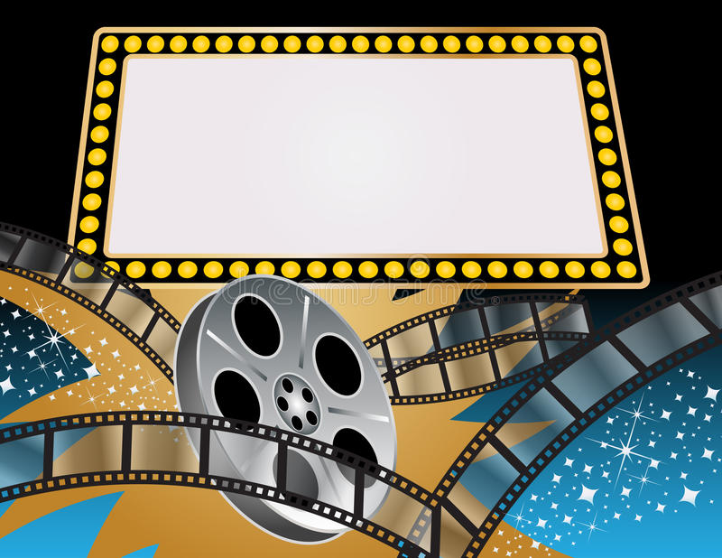 Movies. Marquee for your own personal message with a lively movie theme