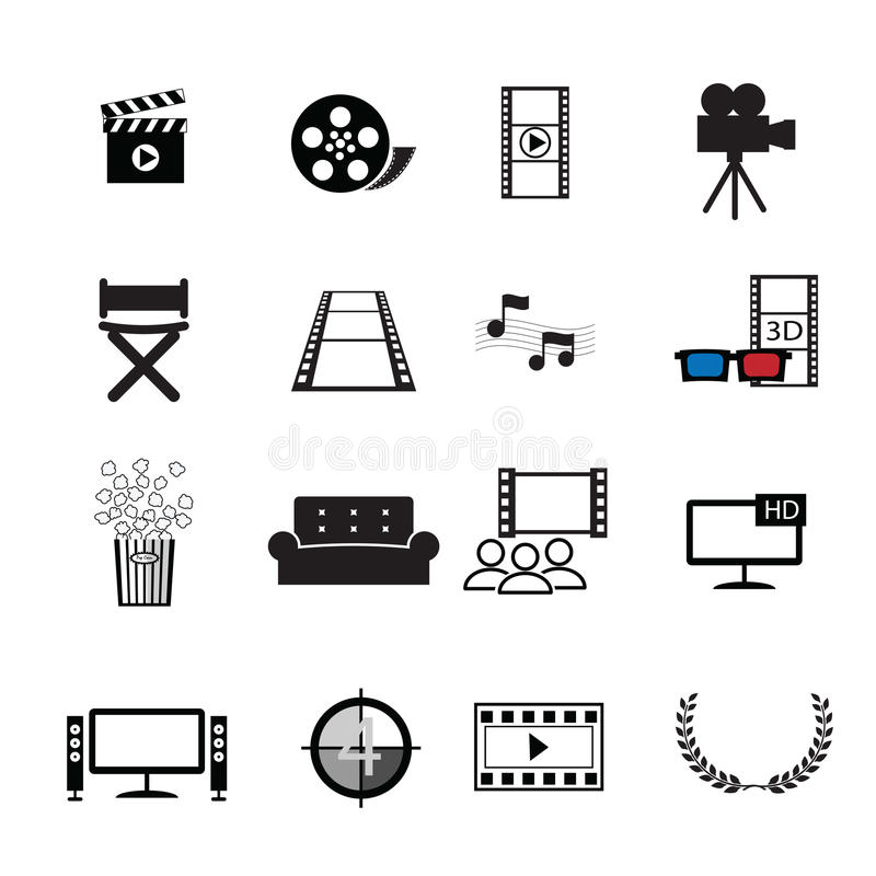 Movies cinema icons set royalty free illustration