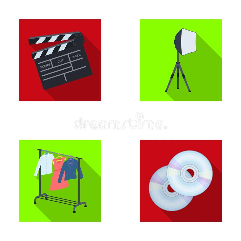 Movies, discs and other equipment for the cinema. Making movies set collection icons in flat style vector symbol stock. Illustration stock illustration