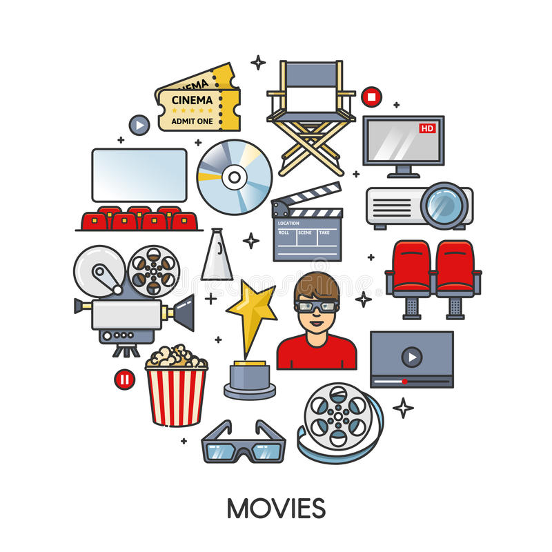 Movies element set in round form. Cinema icons collection. Outline flat isolated vector illustration. vector illustration