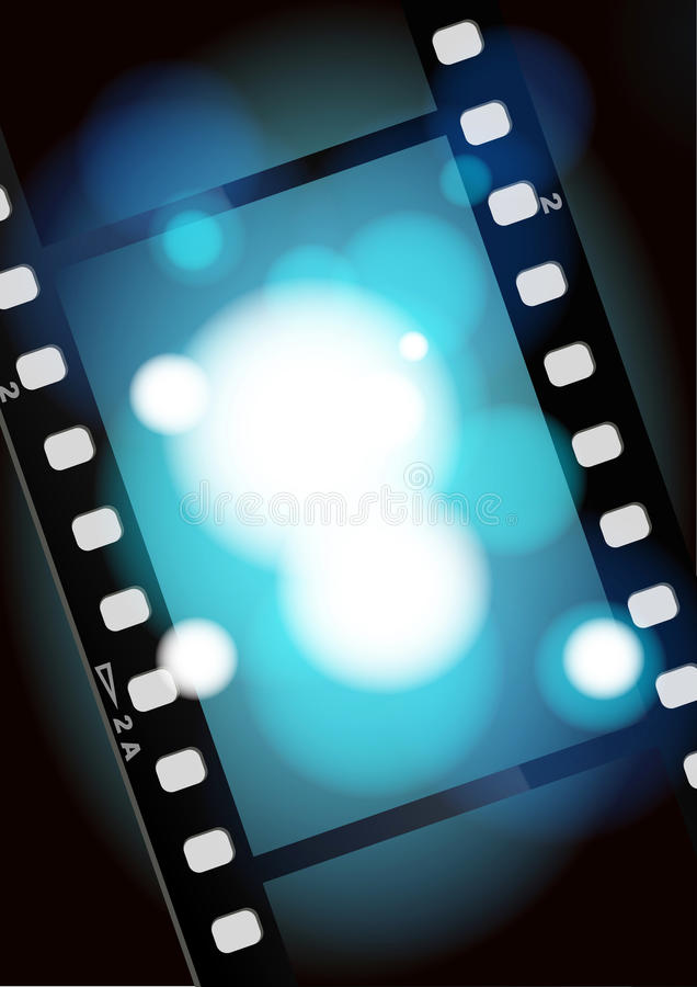 Movies film blue light background. Film illustration, lighting, fuzzy, the aperture is auxiliary visual elements royalty free illustration