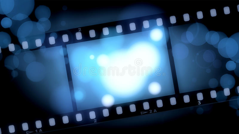 Movies film blue light background. Film illustration, lighting, fuzzy, the aperture is auxiliary visual elements vector illustration