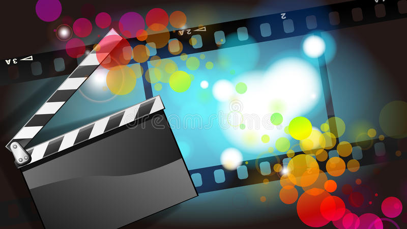 Movies film and Clapper board background. Digital illustrations stock illustration