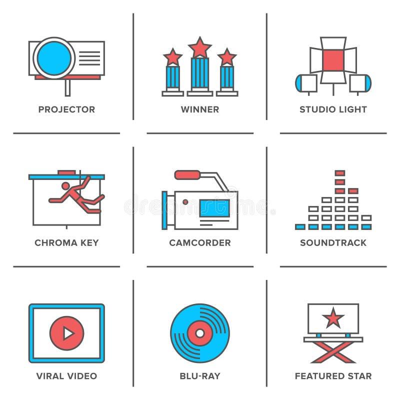 Movies production line icons set stock illustration