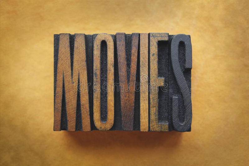 Movies. The word MOVIES written in vintage letterpress type stock images