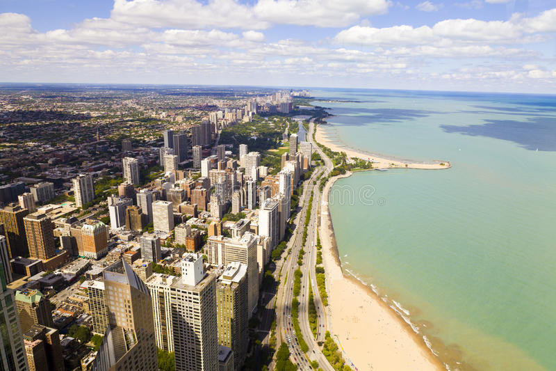 Movimentação da costa do lago chicago foto de stock