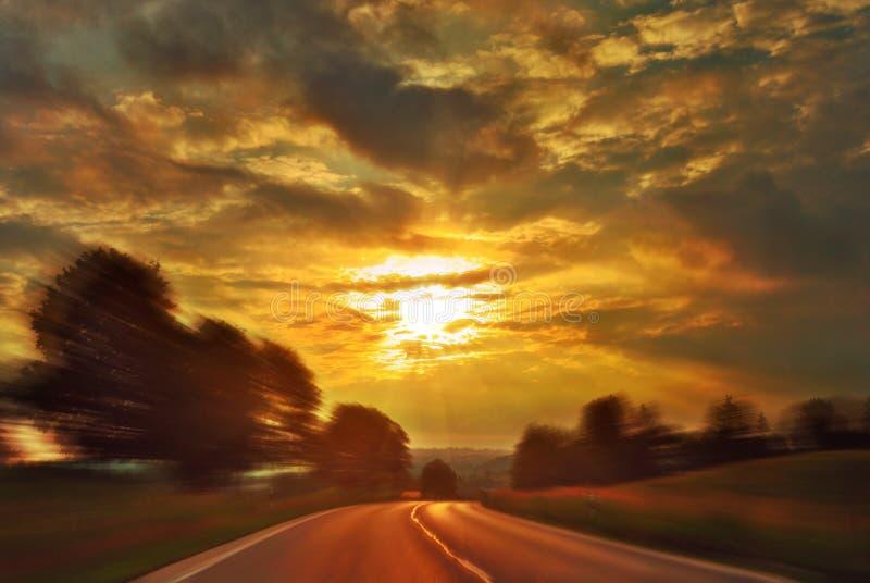 Movimentação da velocidade do por do sol fotos de stock royalty free