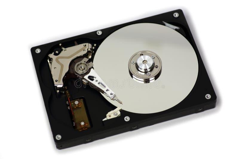 Movimentação de disco duro HDD com o aberto da tampa superior isolado no fundo branco imagens de stock