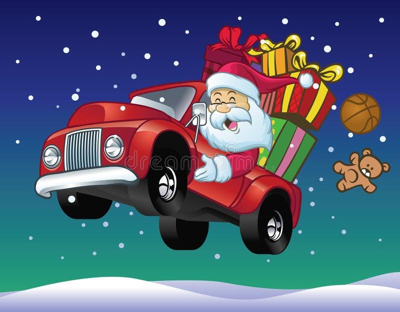Movimentação de Papai Noel um caminhão completamente do presente do Natal ilustração royalty free