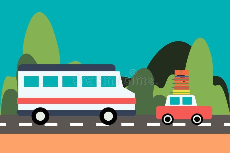 Movimentação do ônibus e do carro na estrada no fundo da natureza ilustração royalty free