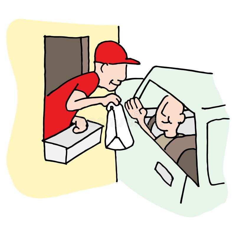 Movimentação do fast food através da janela ilustração do vetor