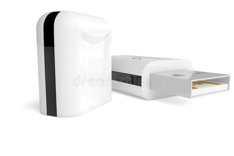 movimentação do flash de 3D USB no fundo branco ilustração do vetor