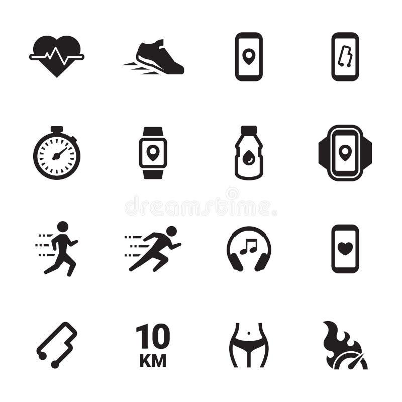 Movimentando-se, ícones de corrida dos povos ajustados fotos de stock