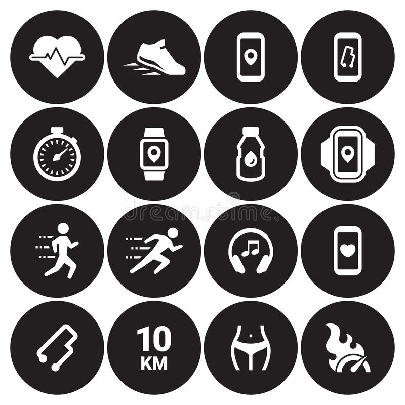 Movimentando-se, ícones de corrida dos povos ajustados imagens de stock royalty free