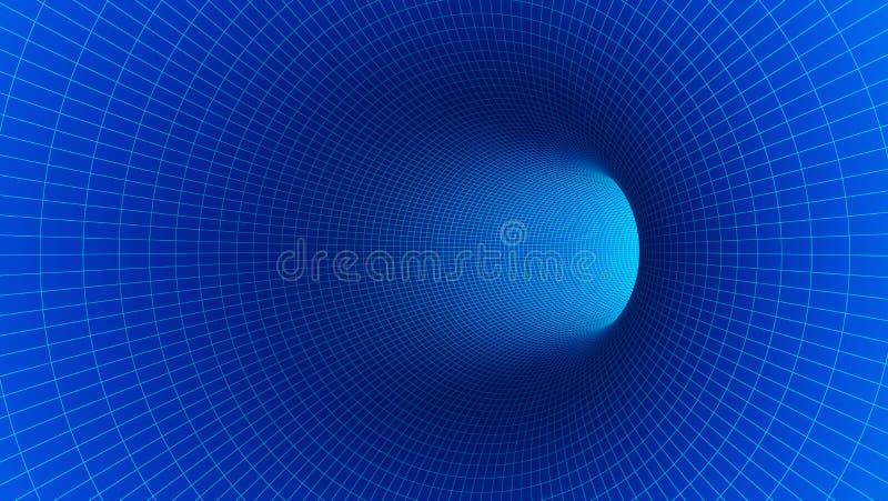 Movimento abstrato azul da velocidade no túnel da estrada para a tecnologia ilustração royalty free