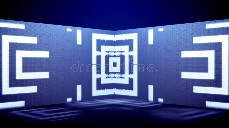 Movimento al neon del tunnel delle figure di zigzag illustrazione vettoriale
