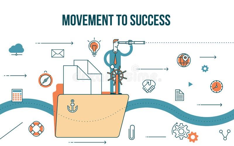 Movimento da ilustração do conceito do negócio ao sucesso ilustração do vetor