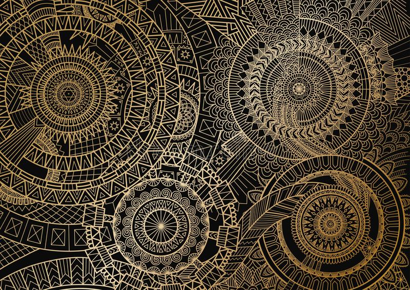 Movimento da mandala em linhas douradas no fundo preto Ilustração do vetor ilustração royalty free