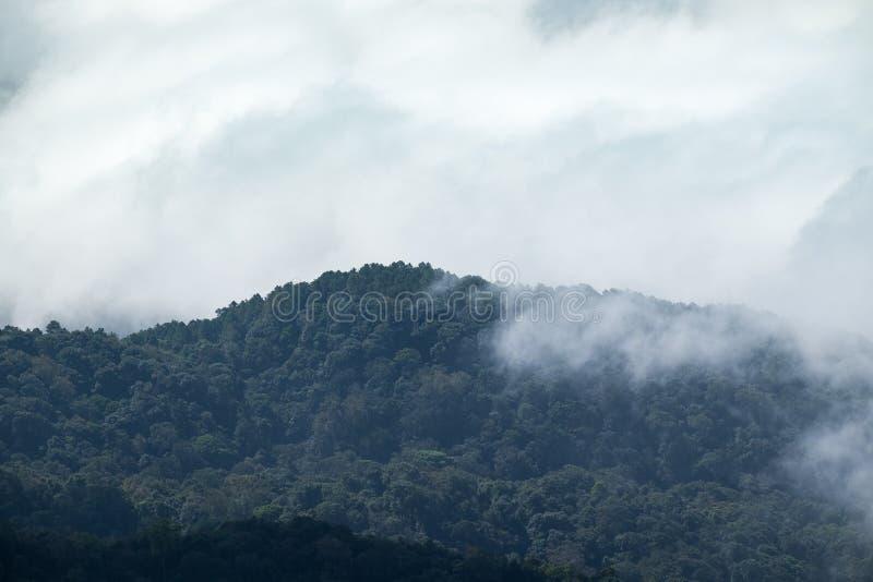 Movimento da névoa da nuvem através da montanha imagens de stock royalty free