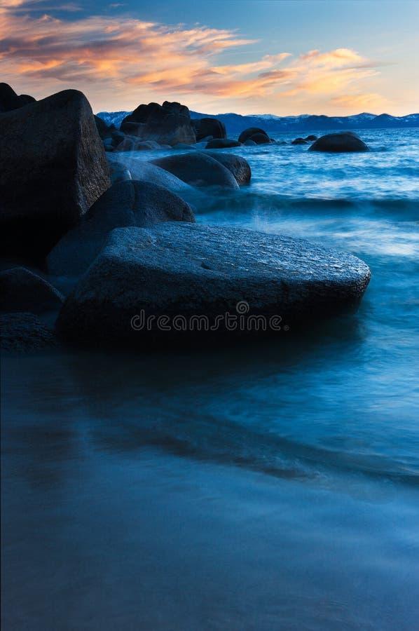Movimento da noite, Lake Tahoe, Nevada/Califórnia fotos de stock