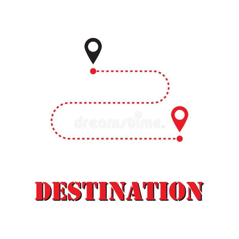 Movimento de GPS de ponto a ponto ao longo do caminho Respira??o lisa para o an?ncio e o design web Ponto de destino Vetor ilustração royalty free