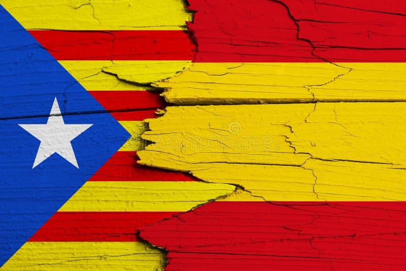Movimento di indipendenza della Catalogna contro la Spagna: simbolico per disputa in corso sulla separazione e sull'autonomia fotografia stock