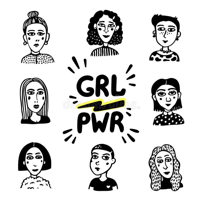 Movimento di potere della ragazza Ritratti della ragazza di stile di scarabocchio e grl femminista PWR di slogan su fondo bianco  illustrazione di stock