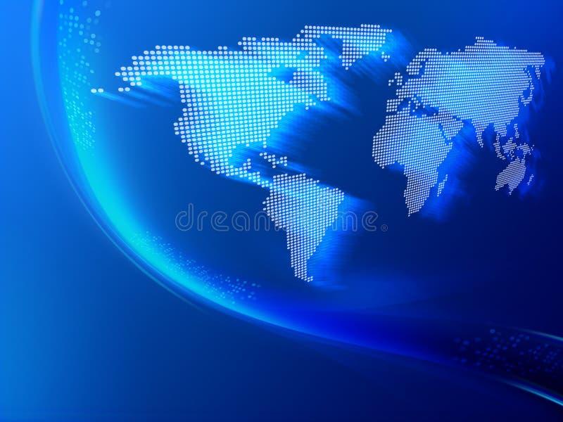 Movimento do bit com mapa de mundo ilustração do vetor