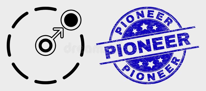 Movimento do esboço do vetor circundar o ícone do perímetro e a filigrana pioneira do Grunge ilustração stock