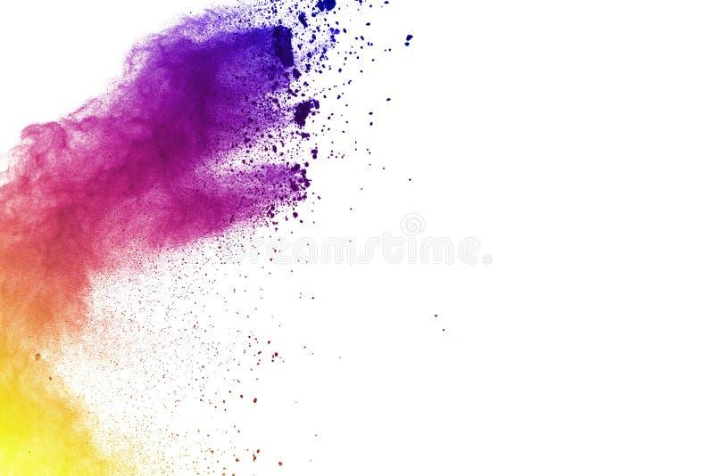 Movimento do gelo das explosões coloridas do pó isoladas no CCB branco foto de stock royalty free