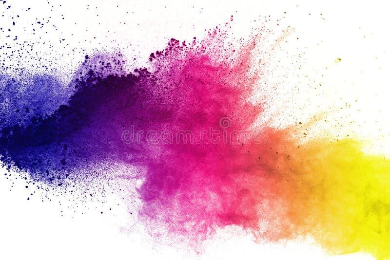 Movimento do gelo das explosões coloridas do pó isoladas no CCB branco fotografia de stock