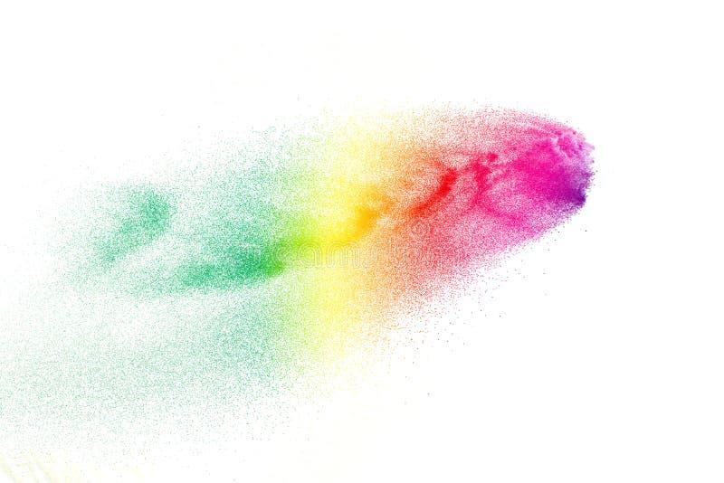 Movimento do gelo de partículas de poeira coloridas no fundo preto Textura abstrata da folha de prova do pó da cor pastel foto de stock