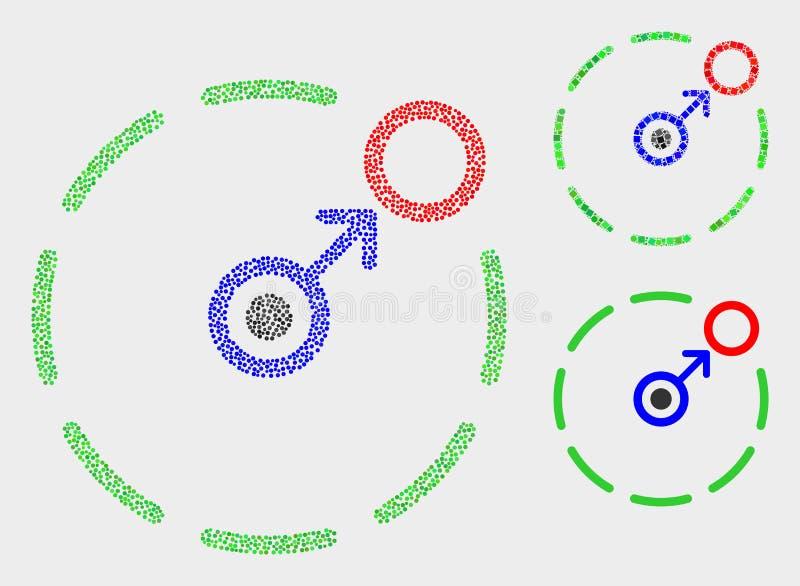 Movimento do vetor do pixel circundar ícones do perímetro ilustração royalty free