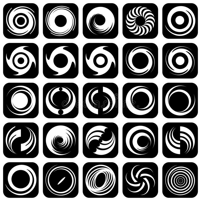 Movimento e rotazione a spirale. Elementi di disegno. illustrazione di stock