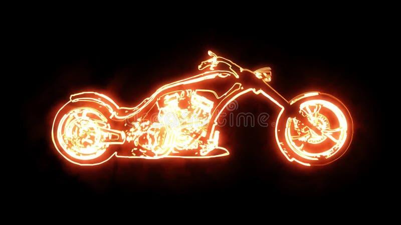 Movimento feito sob encomenda de brilho de Chopper Motorcycle Animation Logo Graphic ilustração royalty free
