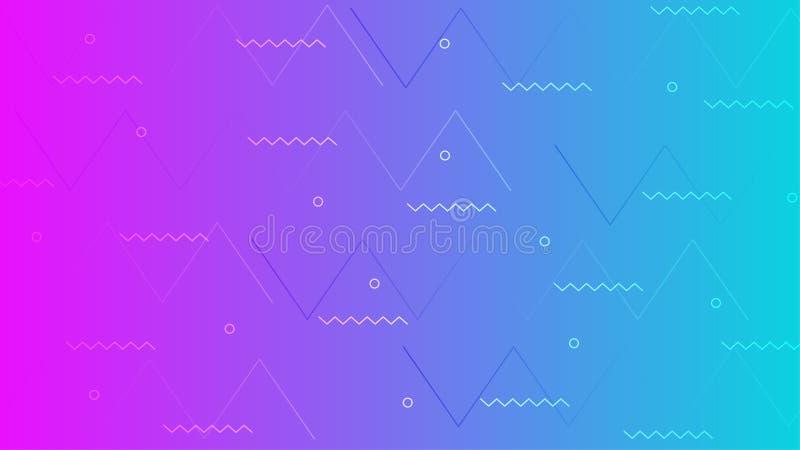 Movimento geométrico da tendência gráfica no projeto vívido do fundo da cor do inclinação do verão ilustração stock