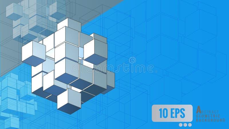 Movimento geométrico isométrico do cubo no fundo azul ilustração royalty free