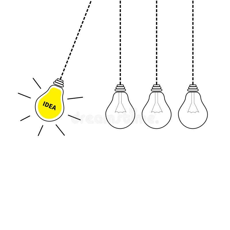 Movimento perpétuo Grupo de suspensão do ícone da ampola Ligue fora da lâmpada Texto da ideia Efeito de brilho Linha do traço Cor ilustração do vetor