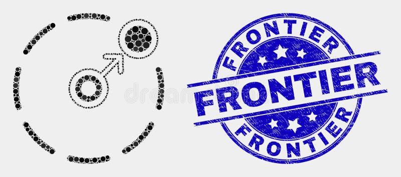 Movimento pontilhado vetor circundar o selo do ícone do perímetro e da fronteira da aflição ilustração stock