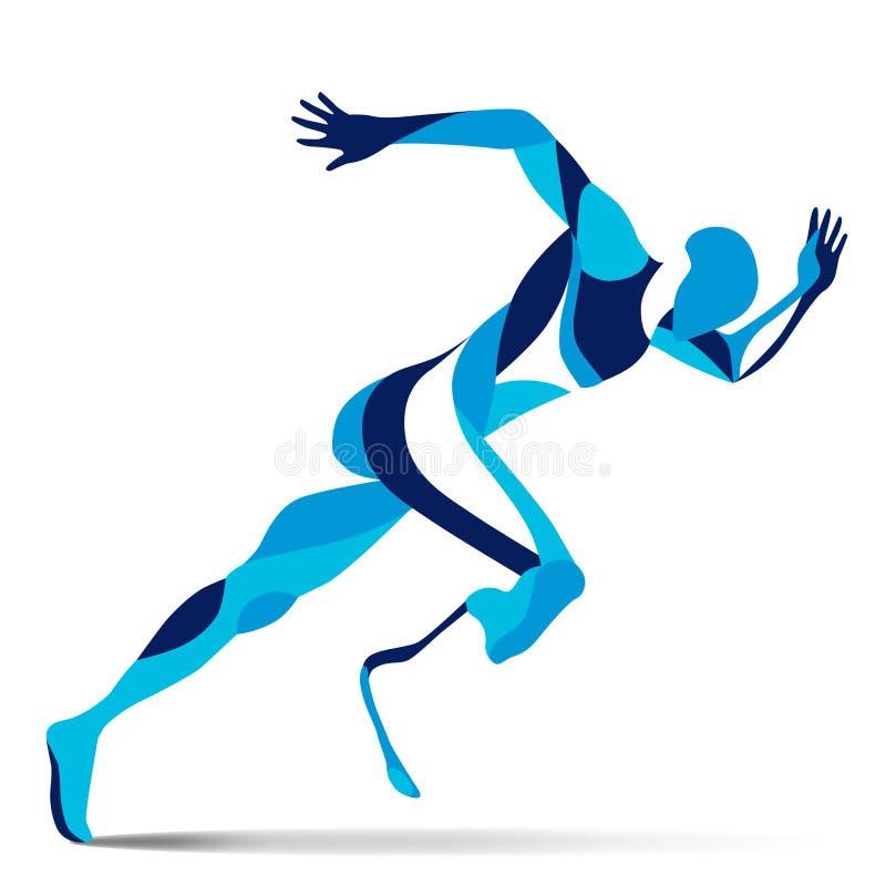 Movimento stilizzato d'avanguardia dell'illustrazione, uomo corrente paralimpico, linea siluetta di vettore di illustrazione vettoriale