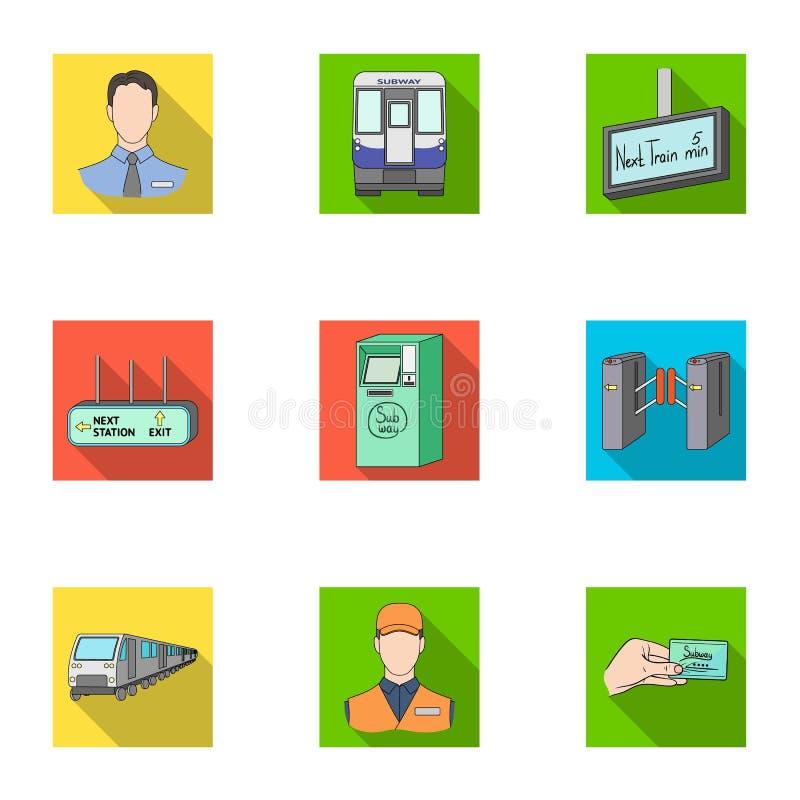 Movimento, transporte bonde e o outro ícone da Web no estilo liso Atributos, público, meios, ícones na coleção do grupo ilustração stock