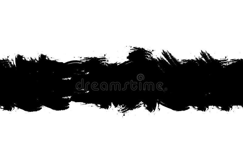 Movimiento áspero negro inconsútil del cepillo del vector, en el fondo blanco, plantilla de la salpicadura stock de ilustración